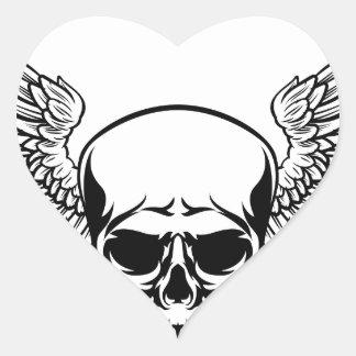 Sticker Cœur Style à ailes de gravure sur bois gravé par cru en