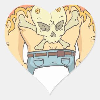 Sticker Cœur Style tatoué de bandes dessinées décrit par