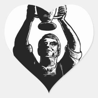 Sticker Cœur Tasse de levage Scratchboard de championnat de