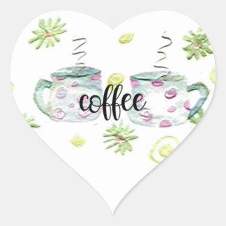 Sticker Cœur Tasses de café