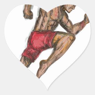 Sticker Cœur Tatouage thaïlandais de combattant de boxe de Muay