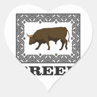 Sticker Cœur taureau encadré de race