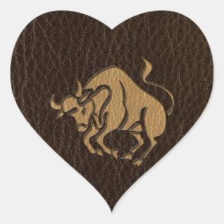 Sticker Cœur Taureau simili cuir