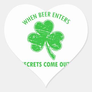 Sticker Cœur tee - shirt drôle de bière