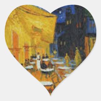Sticker Cœur Terrasse de Café le nuit de Vincent Van Gogh