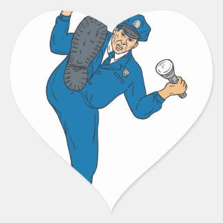 Sticker Cœur Torche de lampe-torche d'arme à feu de policier