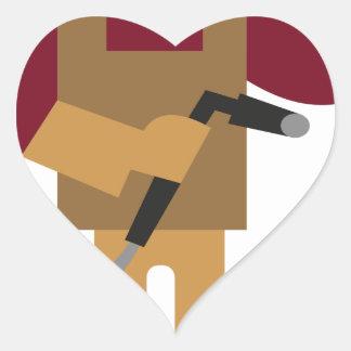 Sticker Cœur Travailleur en métal