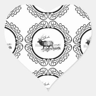 Sticker Cœur troupeau d'élans dans le groupe