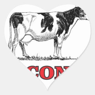 Sticker Cœur vache rouge au Wisconsin