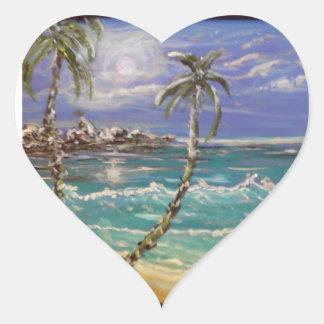Sticker Cœur vague de plage, palmiers