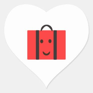 Sticker Cœur valise rouge heureuse