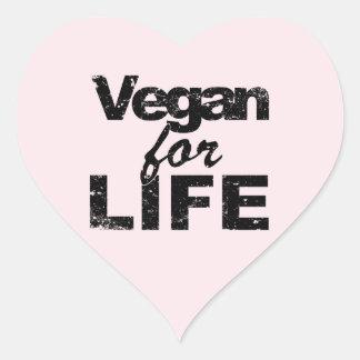 Sticker Cœur Végétalien pendant la VIE (noir)