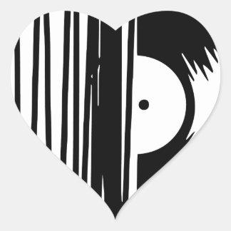 Sticker Cœur vinil de musique