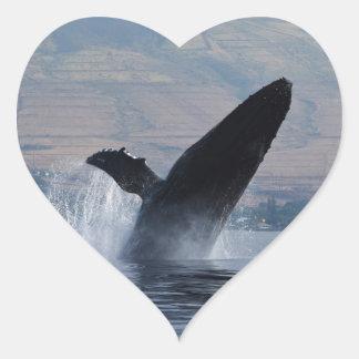 Sticker Cœur violation de baleine de humback
