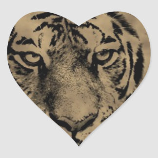 Sticker Cœur Visage de tigre