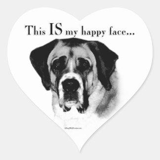 Sticker Cœur Visage heureux de St Bernard