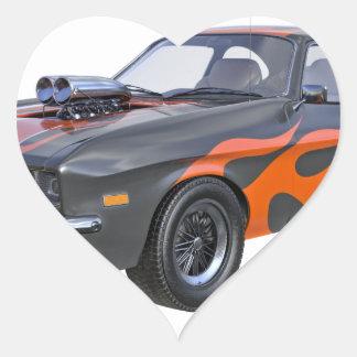 Sticker Cœur voiture de muscle des années 70 dans les flammes