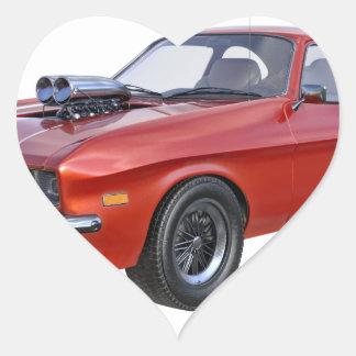 Sticker Cœur voiture de muscle des années 70 en rouge