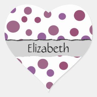 Sticker Cœur Votre nom - points sans couture, motif pointillé -