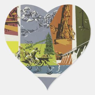 Sticker Cœur Voyage vintage le Dakota du Sud Etats-Unis