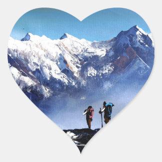 Sticker Cœur Vue panoramique de montagne maximale d'Ama Dablam