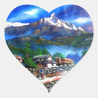 Sticker Cœur Vue panoramique de montagne Népal d'Everest