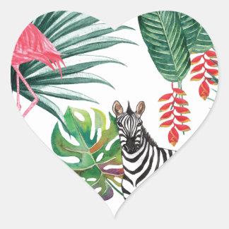 Sticker Cœur Zèbre et flamant tropicaux d'impression
