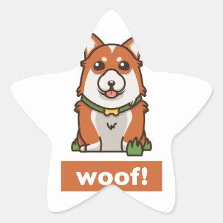 Sticker Étoile Amant mignon de chien de corgi de Gallois de