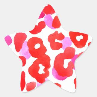 Sticker Étoile Amour sauvage de rouge d'ethno de jaguar