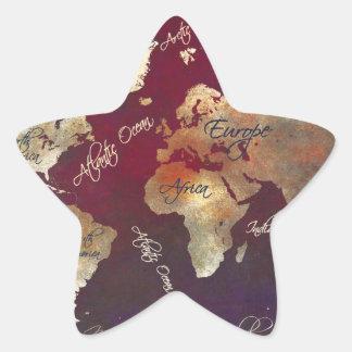 Sticker Étoile art de carte du monde