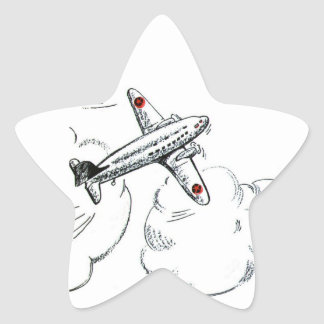 Sticker Étoile Avion vintage dessinant le cadeau d'aviation de |