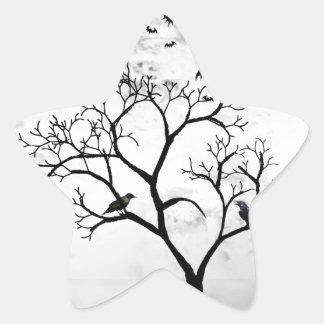 Sticker Étoile Battes et corneilles de Halloween dans l'arbre