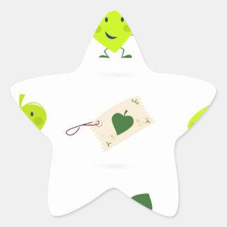 Sticker Étoile Bio vert mignon d'icônes d'enfants