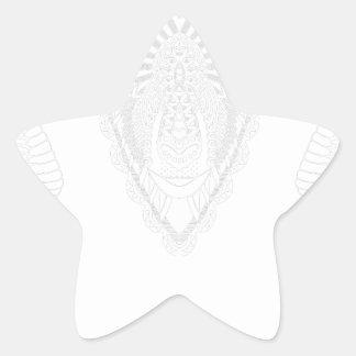 Sticker Étoile Blanc de style de mandala de dessin de RAM