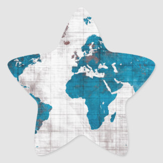 Sticker Étoile bleu blanc de carte du monde