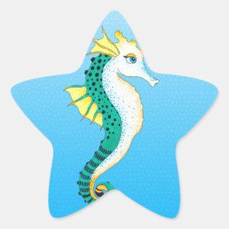 Sticker Étoile bleu turquoise d'hippocampe