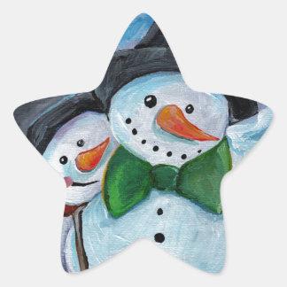 Sticker Étoile Bonhommes de neige de visite cardinaux