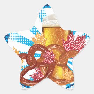 Sticker Étoile Bretzel de bande dessinée avec de la bière