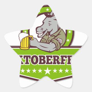 Sticker Étoile Buveur de bière d'âne Oktoberfest rétro