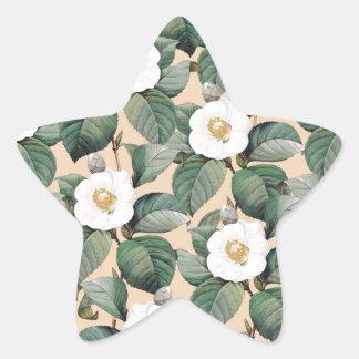 Sticker Étoile Camélia blanc sur le motif beige