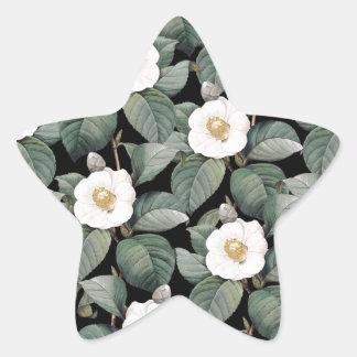 Sticker Étoile Camélia blanc sur le motif noir