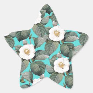 Sticker Étoile Camélia blanc sur le motif turquoise