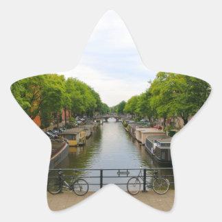 Sticker Étoile Canal, ponts, vélos, bateaux, Amsterdam, Hollande