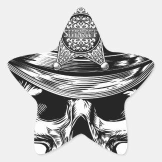 Sticker Étoile Casquette de cowboy de crâne d'insigne d'étoile de