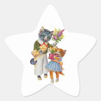Sticker Étoile Chats d'Arthur Thiele soutenant des cadeaux
