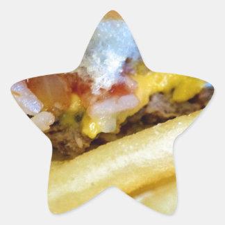 Sticker Étoile Cheeseburger et fritures