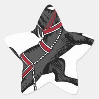 Sticker Étoile Cheval noir
