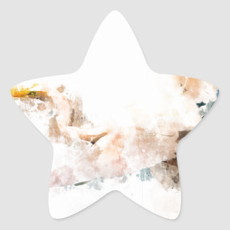 Sticker Étoile Conception d'aquarelle, vol d'oiseau de grue