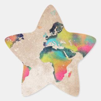 Sticker Étoile couleurs de carte du monde