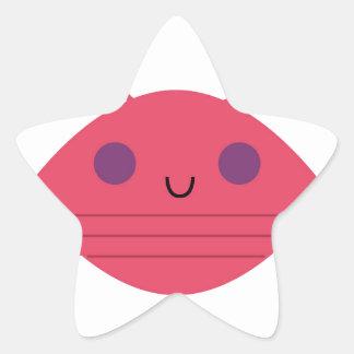 Sticker Étoile Crabe rose sur le blanc